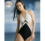 ชุดว่ายน้ำวันพีช สไตล์ แฟชั่น สาวยุโรป สาวลูกครึ่ง สวย เปรี้ยว โทนสี ขาว ดำ กางเกง ทรง วีคัท ช่วยให้ขาดูยาว สวย ชุดว่ายน้ำ แบบเซ็กซี่ 308744