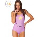 ชุดว่ายน้ำผู้หญิง ชุดว่ายน้ำเด็กผู้หญิง วันพีช ทรง วีคัท ลายการ์ตูน สีม่วง เพ้นท์ เป็นรูปยิ้ม แบบ หุบปาก แต่งดาวด้านบน น่ารักค่ะ 3923605