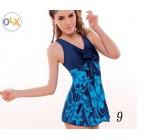 ชุดว่ายน้ำ พลัสไซส์ ชุดว่ายน้ำไซส์ใหญ่ แบบ ชุดว่ายน้ำวันพีช สำหรับ คนอวบ คนอ้วน แบบกระโปรง สีน้ำเงิน ลายดอกไม้สีฟ้า แต่งโบว์ 2824374
