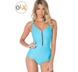ชุดว่ายน้ำผู้หญิง ชุดว่ายน้ำเด็กผู้หญิง วันพีช ทรง วีคัท สีพื้น สีฟ้า แต่งลายซิปตรงกลาง ดีไซน์สุดเก๋ ราคาถูก 39236014