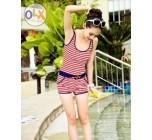 ชุดว่ายน้ำวันพีช สำหรับคนขี้อาย ชุดว่ายแบบเสื้อกล้าม กางเกงขาสั้น ลายขวาง สีแดง ขอบชุด สีน้ำเงิน 792514